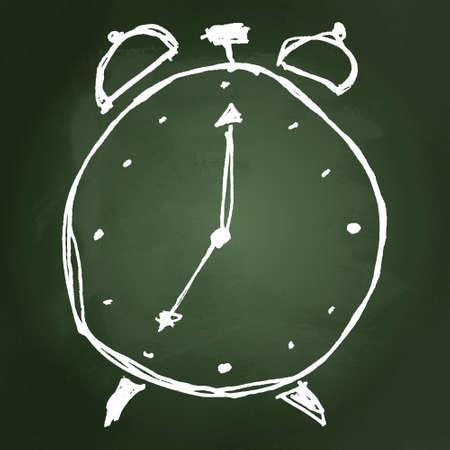 Hand drawn cartoon style clock design Illustration