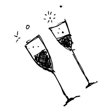 Hand drawn cartoon style wine glassl design Stock Photo