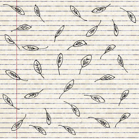 sketched shapes: background design using hand drawn cartoon style leaves