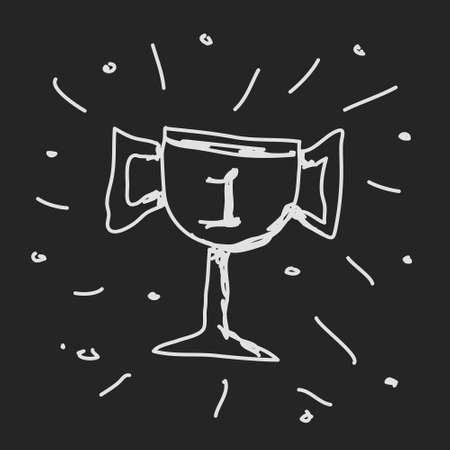 Simple hand drawn doodle of a trophy Vector