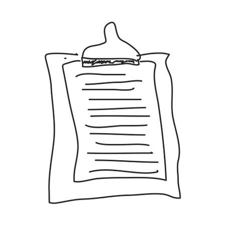 office stuff: Simple hand drawn doodle of a clipboard