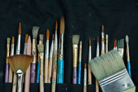 thier: Artist paint brushes in thier pouch read for use