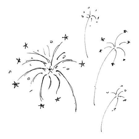 Set of hand drawn cartoon style fireworks 版權商用圖片