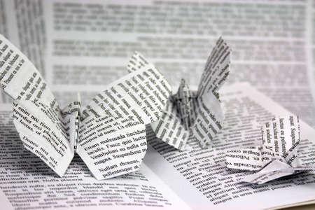 libros antiguos: Mariposas de origami con las palabras que salen de un libro. Prueba de Lorem Ipsum usado. Foto de archivo