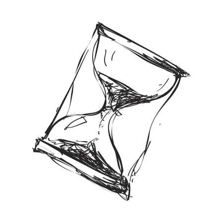 Eenvoudige hand getrokken doodle van een zandloper Stock Illustratie