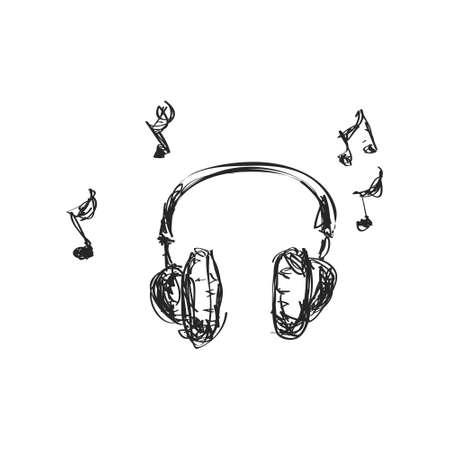 Simple mano doodle de un conjunto de auriculares