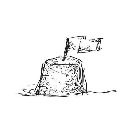 Simple hand drawn doodle of a sand castle Ilustração