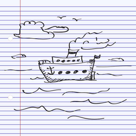 hand line fishing: Simple hand drawn doodle of a ship Illustration