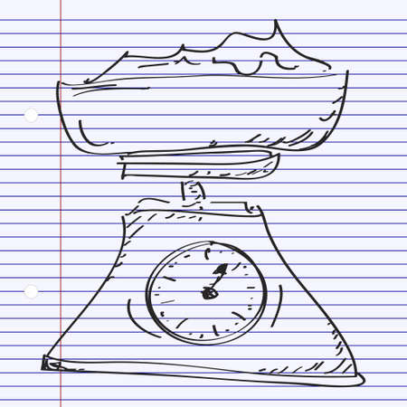 weighing scales: Simple hand drawn doodle of a set of weighing scales