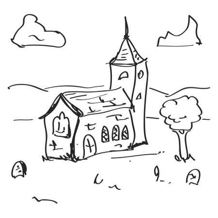 Simple main doodle tirée d'une église Banque d'images - 42651478