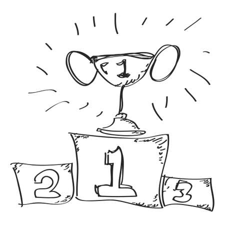 winner podium: Simple hand drawn doodle of first place Illustration
