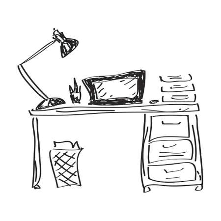 study table: Simple hand drawn doodle of a desk
