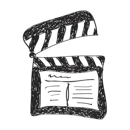 clap board: Simple hand drawn doodle of a clap board Vectores