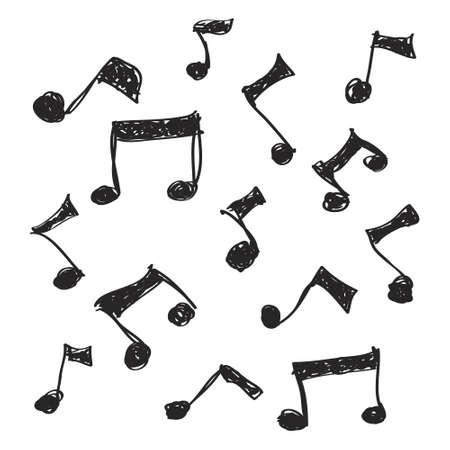 音楽の音符のいくつかの簡単な手描き落書き  イラスト・ベクター素材