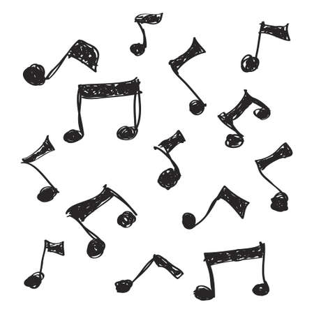 musical notes background: Simple hand drawn doodle of some music notes