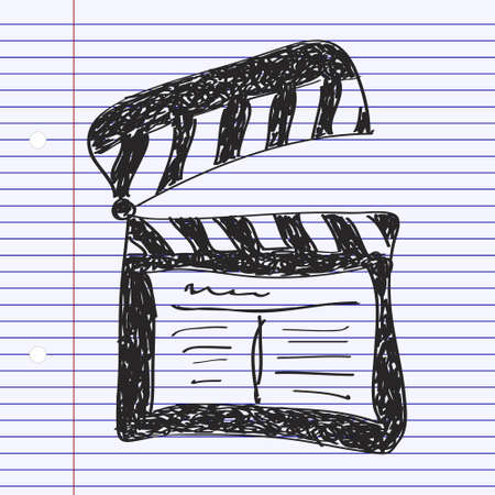 clap board: Simple hand drawn doodle of a clap board Illustration