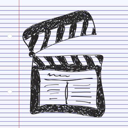 clap board: Simple mano doodle de una tarjeta de la palmada Vectores