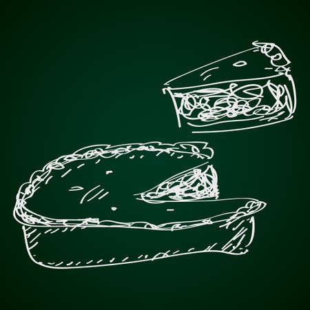 pecan: Simple hand drawn doodle of a pie