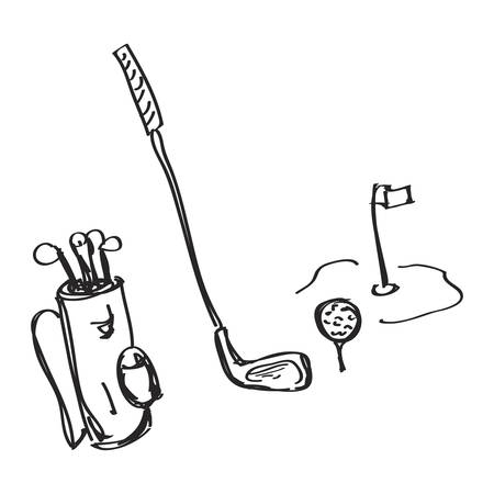 golf clubs: Simple hand drawn doodle of golf equipment Illustration