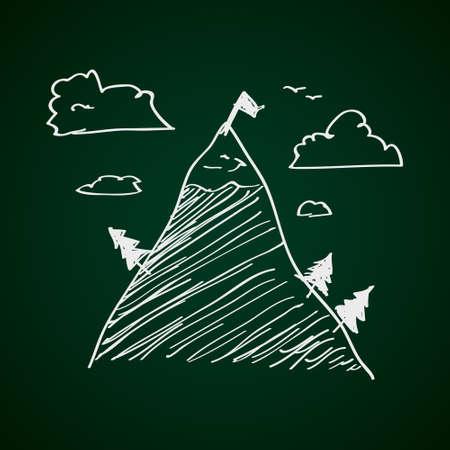 montañas nevadas: Simple bosquejo dibujado mano de una montaña Vectores