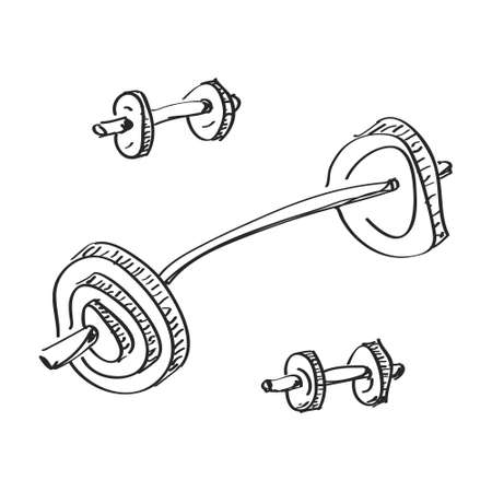 workout gym: Simple hand drawn doodle of a dumbell Illustration