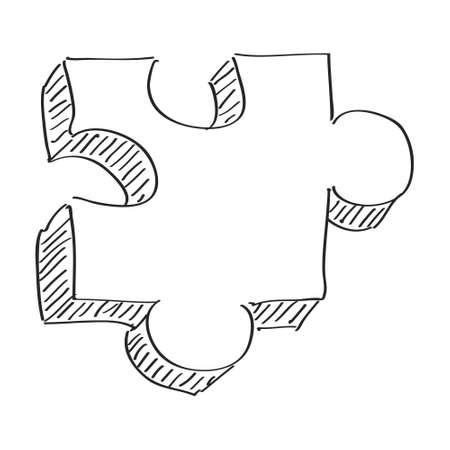 jigsaw piece: Simple hand drawn doodle of a jigsaw piece