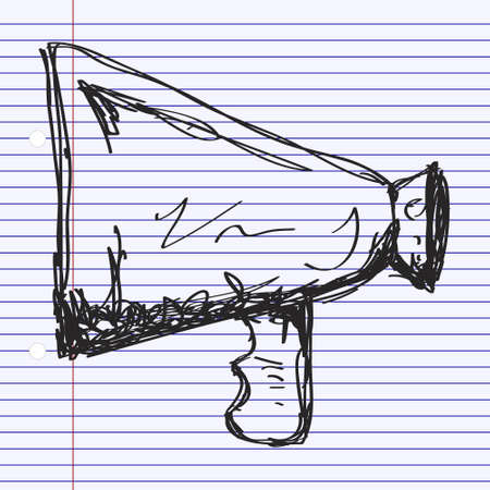 proclaim: Simple hand drawn doodle of a megaphone