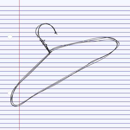 coat hanger: Simple hand drawn doodle of a coat hanger