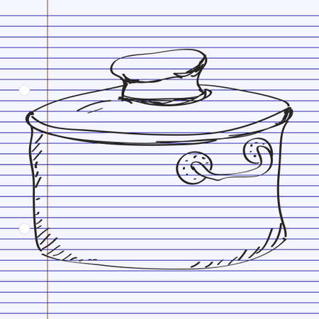 Simple hand drawn doodle of a saucepan