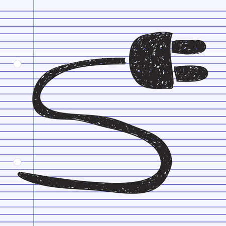 power cable: Simple hand drawn doodle of a power cable