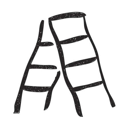 construction tools: Simple hand drawn doodle of a step ladder