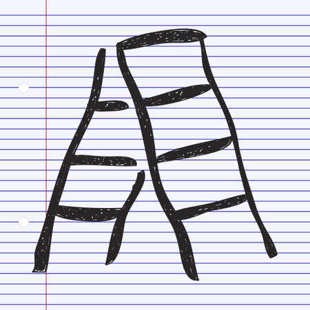 step ladder: Simple hand drawn doodle of a step ladder