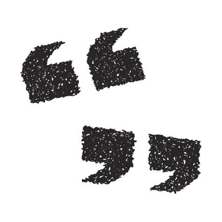 marks: Simple hand drawn doodle of a set of quotation marks