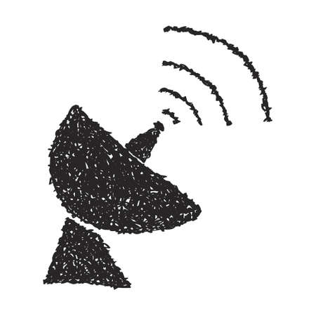 arial: Simple hand drawn doodle of a satalite dish Illustration