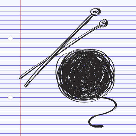 clew: Simple hand drawn doodle of wool and knitting needles