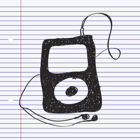 mp3: Simple hand drawn doodle of an mp3 player Illustration