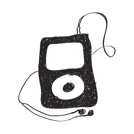 portable audio: Simple hand drawn doodle of an mp3 player Illustration