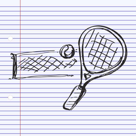 badminton: Simple hand drawn doodle of a tennis racket