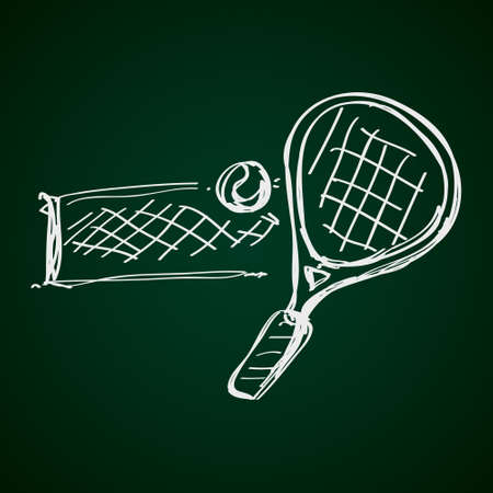 badminton racket: Simple hand drawn doodle of a tennis racket