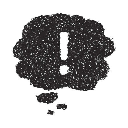 symbol  punctuation: Simple hand drawn doodle of a exclamation mark thought bubble