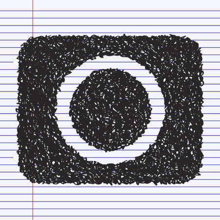 rec: Simple hand drawn doodle of a record button Illustration