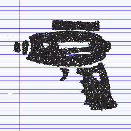 Simple hand drawn doodle of a space gun Illustration