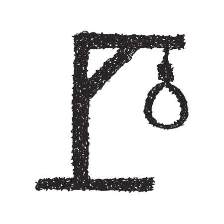 punish: Simple hand drawn doodle of a hangmans noose