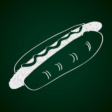 hotdog: Simple hand drawn doodle of a hotdog