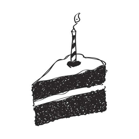 cake slice: Simple hand drawn doodle of a slice of cake