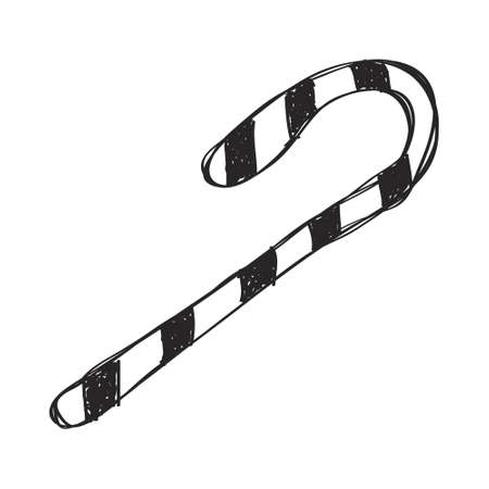 cartoons sweet: Simple hand drawn doodle of a candy cane Illustration