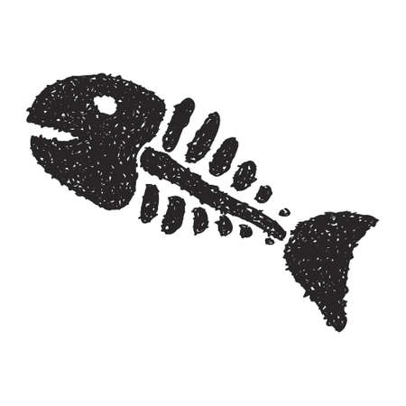 skeleton of fish: Simple hand drawn doodle of a fish skeleton Vectores