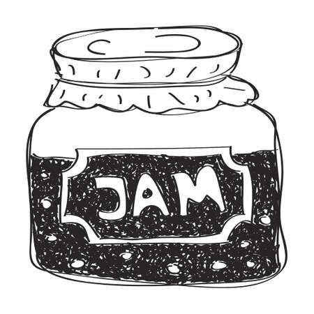 hand jam: Simple hand drawn doodle of a jam jar
