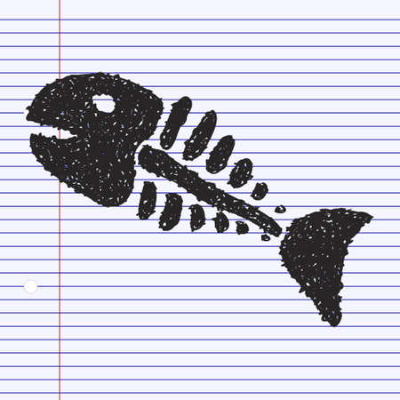 skeleton of fish: Simple hand drawn doodle of a fish skeleton Illustration