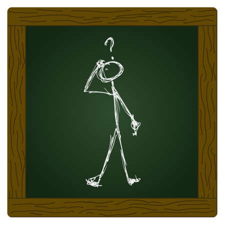 to ponder: Doodle of a matchstick man with a question mark above his head Illustration